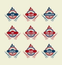 Music label sticker vector