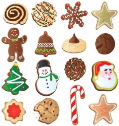 Cute christmas cookies vector
