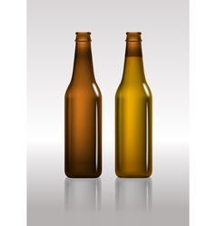 Full and empty brown beer bottles vector