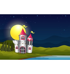 A castle at the riverbank near the pine trees vector