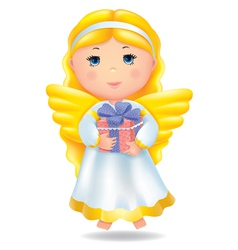 Angel with gift vector