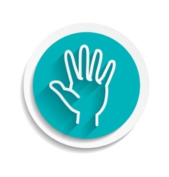 Hand concept white sign symbol icon vector