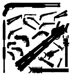 Guns and weapons silhouettes vector