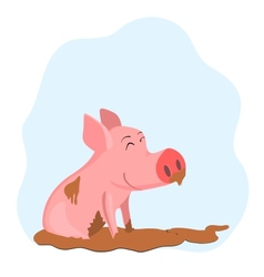 Pig in the mud vector