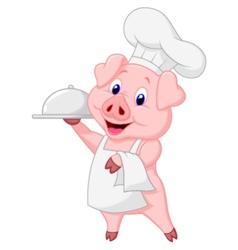 Cute pig chef cartoon holding platter vector