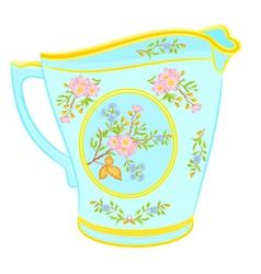 Porcelain milk jug with floral pattern tea service vector