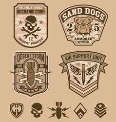 Desert military patches vector