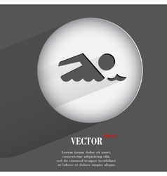 Swimmer pool flat modern web button with long vector