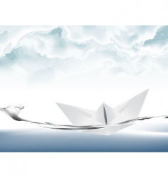 White paper boat vector