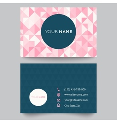Business card template abstract crystal pink vector