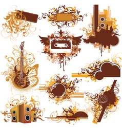Urban music graphic frames vector