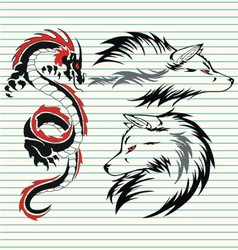 Tribal dragon and wolf vector