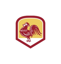 Rooster cockerel crowing side woodcut shield vector