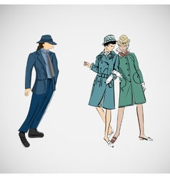 Sketch girls and man in fashion clothes vector