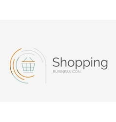 Thin line neat design logo shopping cart icon vector