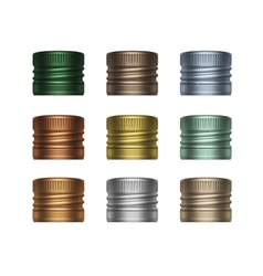 Set of multicolored screw bottle caps vector
