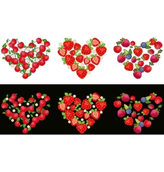 Set of hearts made of fruit and berries on a white vector