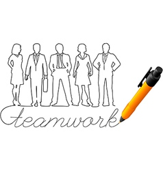 Drawing business team work people vector