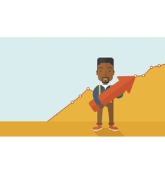 Happy black guy holding arrow up sign vector