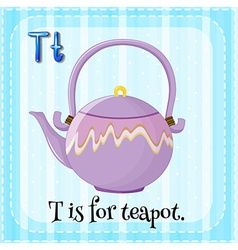 A letter t for teapot vector