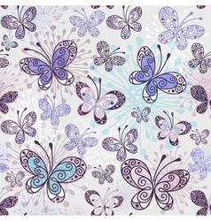 Seamless pattern with transparent butterflies vector