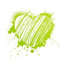 Green grunge heart vector