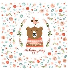 Cute bear with flowers vector