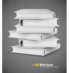 Big pile of white books vector