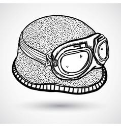 Retro motorcycle helmet and goggles vector