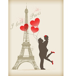 Loving couple in paris vector