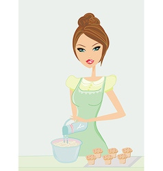 Beautiful lady cooking muffins vector