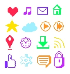 Pixel icons for social networks vector
