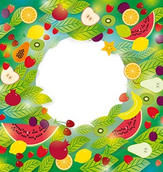 Healthy lifestyle set of fruits and leaves on the vector