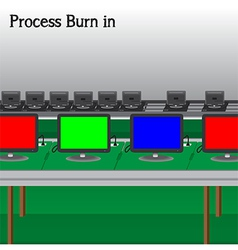 Process burn in production television of vector