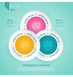 Colored icons for three steps vector