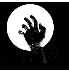 Silhouette of hand on the cemetery vector
