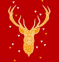 Christmas deer head with geometric pattern vector