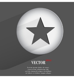 Star flat modern web button with long shadow and vector