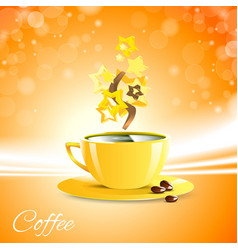 Coffe good morning with yellow cup vector