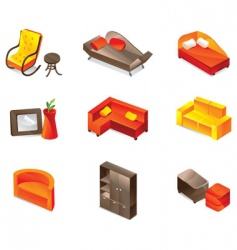 Furniture icon set vector