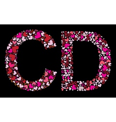 Letter c d valentine alphabet vector
