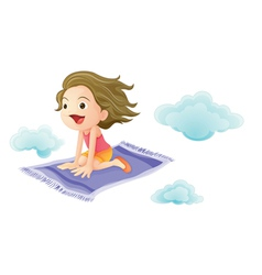 Girl on magic carpet vector