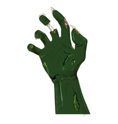 Zombie hand isolated on white vector
