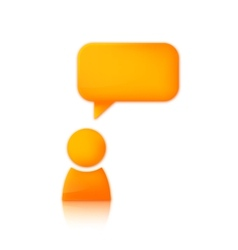 Person with speech bubble orange icon of man vector