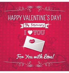 Red background with valentine ornaments vector