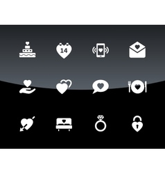 Love and romantic icons on black background vector