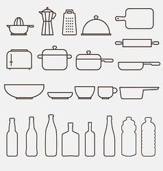 Outline kitchen icon set graphics vector