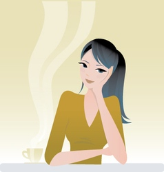 Girl sitting with coffee vector