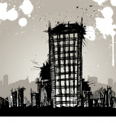 Grunge city drawing vector