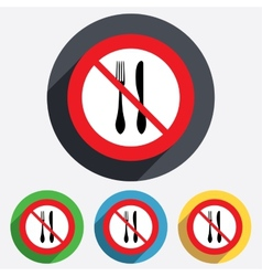 Do not eat sign icon knife and fork symbol vector